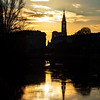 Stunning sunset in autumn in the city of Strasbourg. Silhouette of the cathedral against the background of a colorful sky