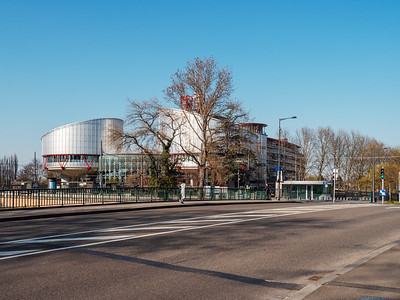 The building of the European Court of Human Rights. Empty streets around.