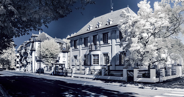Old renovated house in calm quarter of Strasbourg, infrared view