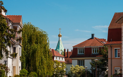 Russian orthodox church in Strasbourg, sunny weather