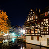 Old center of Strasbourg night street view