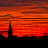 Silhouette of Strasbourg city on red sunset background