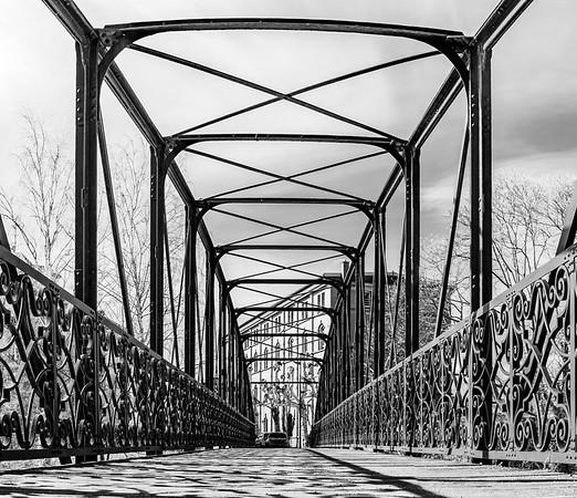 Open-work steel arcs of old bridge in Strasbourg