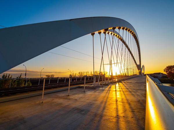 New bridge Pont de l`Europe for tram line Strasbourg - Kehl
