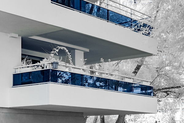 Modern apartment building in Strasbourg, infrared view, sunny day