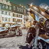 Beautiful motorcycle on the old street of Strasbourg historic cenetr