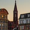 Strasbourg cathedral ion sunset colors at the evening