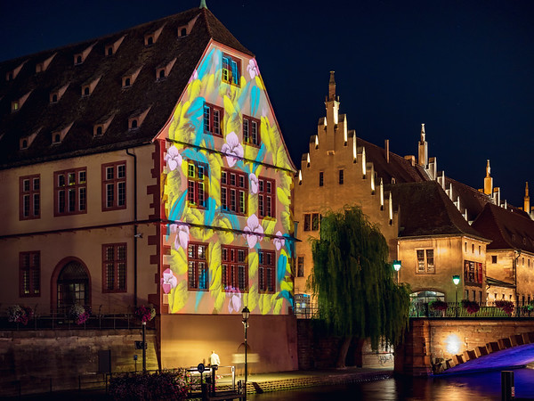 Colorful night street view of Styrasbourg. Highlighted buildings. Comfortable place.