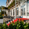 An ancient palace turned into a luxury hotel. Sunny day and chic architecture