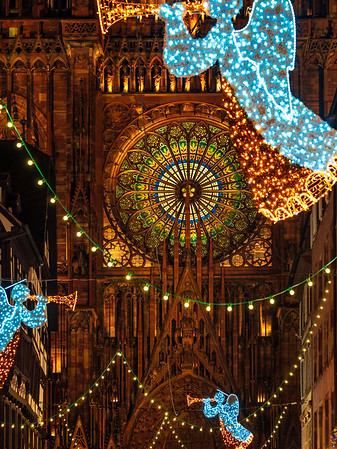 The streets of the night Strasbourg before the new year. Christmas decorations, illumination.