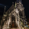 Saint Maurice Church at night, double exposed artistic view, Strasbourg, France