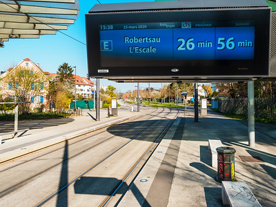 Tram stops are empty. Trams run very rarely.
