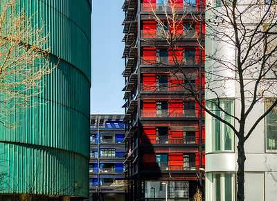 Modern buildings in Strasbourg, combination of different colors