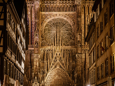 Notre Dame Cathedral in Strasbourg night view