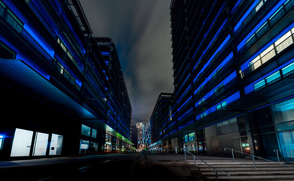 Futuristic modern skyscrapers in the center of Strasbourg, night view, perspective