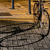 editorial: 16th November 2019: Strasbourg, France. Shadow of a bicycle on the pavement at night
