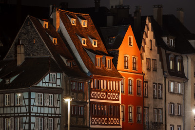 Beautiful medieval houses in Strasbourg. Night view of old historic center