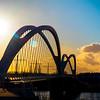 New bridge Pont de l`Europe for tram line Strasbourg - Kehl connects France and Germany.