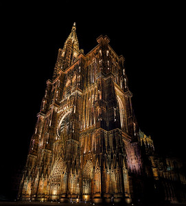 Cathedral of Our Lady of Strasbourg night view, Alsace, France