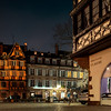 Night streets of the old city of Strasbourg. Half-timbered houses.