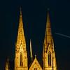 Beautiful Saint Paul church in Strasbourg highlighted at night