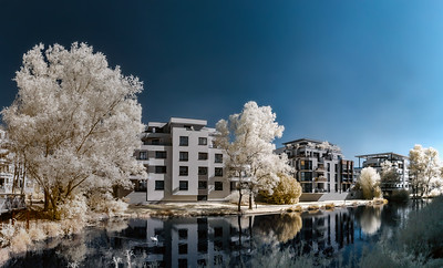 Modern buildings in Strasbourg, infrared view