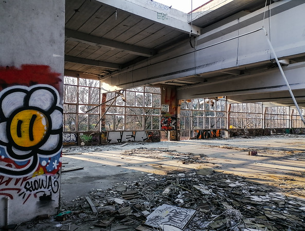 Old factory buildings. Ruin. The walls are painted with graffiti, broken glass on the floor, the roof is full of holes. The old Istra printing factory in Strasbourg.