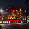 Lafayette Gallery in Strasbourg at night. Beautiful multi-colored illumination of the building.