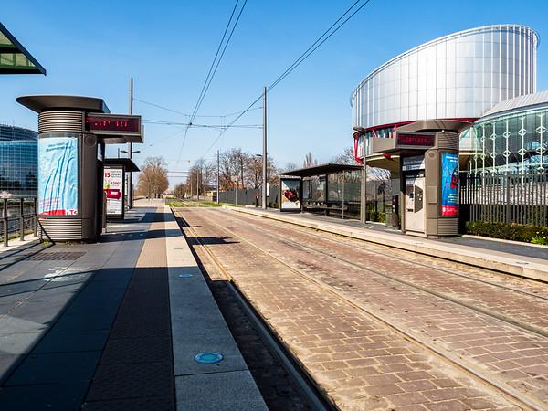 The empty city of Strasbourg. Quarantine time. Coronavirus epidemic. No people.