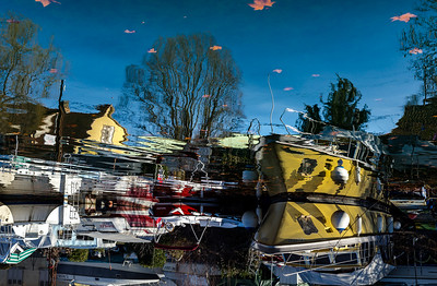 Editorial: 17th February 2019: Strasbourg, France. Small boats on the river Ill.