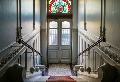 Beautiful interior of building entrance with leaded pane