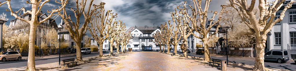 Panoramic infrared view of beautifull alley in Strasbourg, France