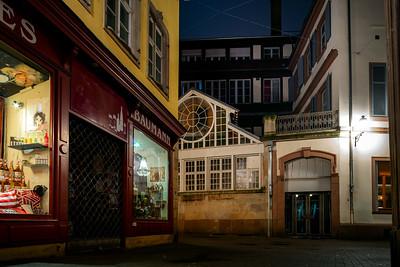 Old alleys of the historic center of Strasbtsrg at night. Fog.