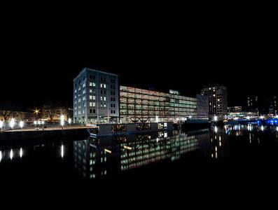 Mediatek of Andre Malraux in Strasbourg, night view