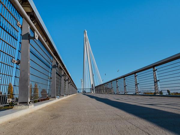 Beautiful pedestrian bridge between France and Germany, Kehl and Strasbourg