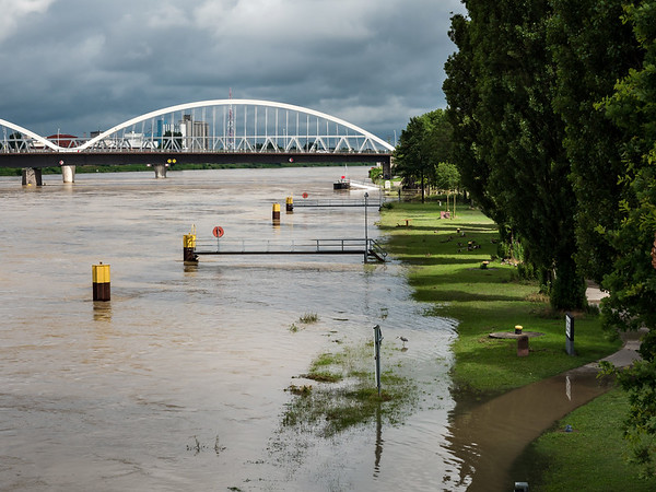 The flood of the Rhine river in Germany near Strasbourg.