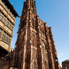 The empty city of Strasbourg. Quarantine time. Coronavirus epidemic. No people. Cafes and shops are closed.
