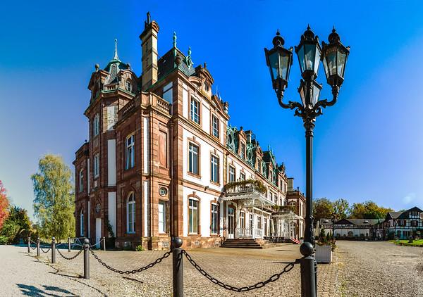 Beautiful old manor near Strasbourg, public building and park, Chateau de Pourtales