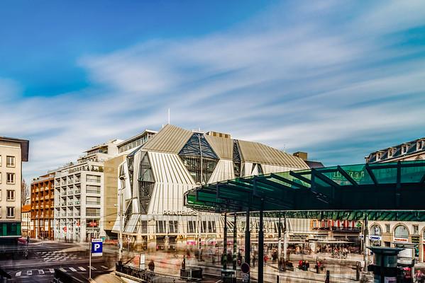 Main tram station in the center of Strasbourg.