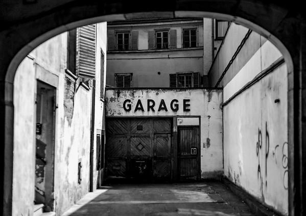 Old retro garage in historical part of Strasbourg, France