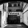 Old retro garage in historical part of Strasbourg, France