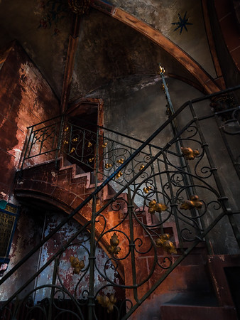 The interiors of the old church of the 11th century. Gothic and Baroque. Arches, organ, wall paintings.