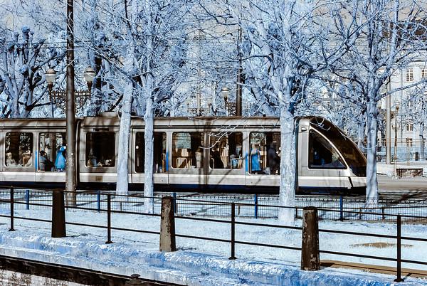 Tram in Strasbourg infrared view