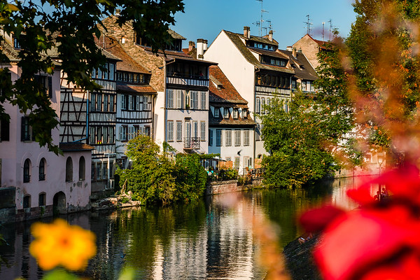 Autumn in the Strasbourg city, sunlight and colors, street view