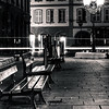 Lonely empty benches on night street in Strasbourg center