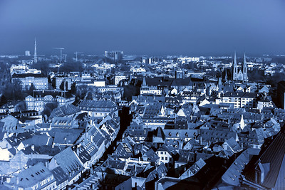 Strasbourg city aerial view from the tower