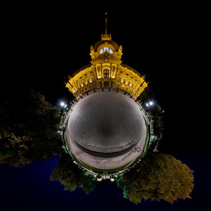 Palace of the Rhine night  view in panoramic sphere style, Strasbourg, France