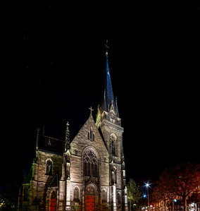 Saint Maurice Church night  view, Strasbourg, France