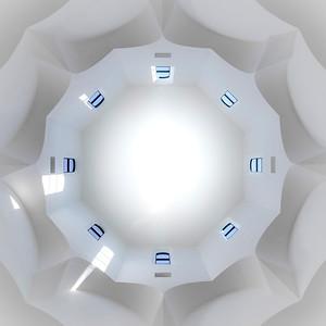 Symmetrical geometric interior view of new russian orthodox church in Strasbourg