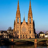 St. Paul's Basilica in Strasbourg. Clean winter air and bright colors of sunset.